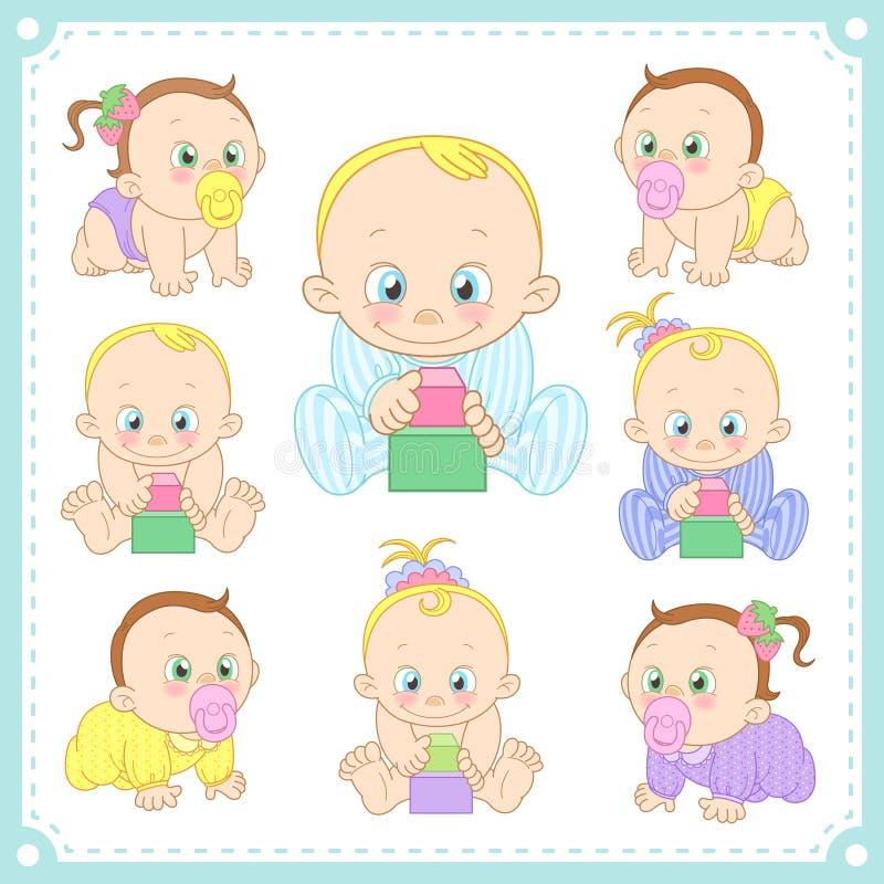 Vektorillustrationen av behandla som ett barn pojkar och behandla som ett barn flickor vektor illustrationer