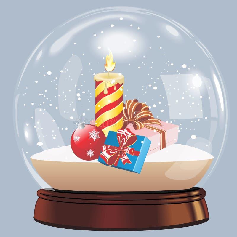 Vektorillustrationen av chrismas för det nya året för snöjordklotbollen realistiska anmärker isolerat royaltyfri illustrationer
