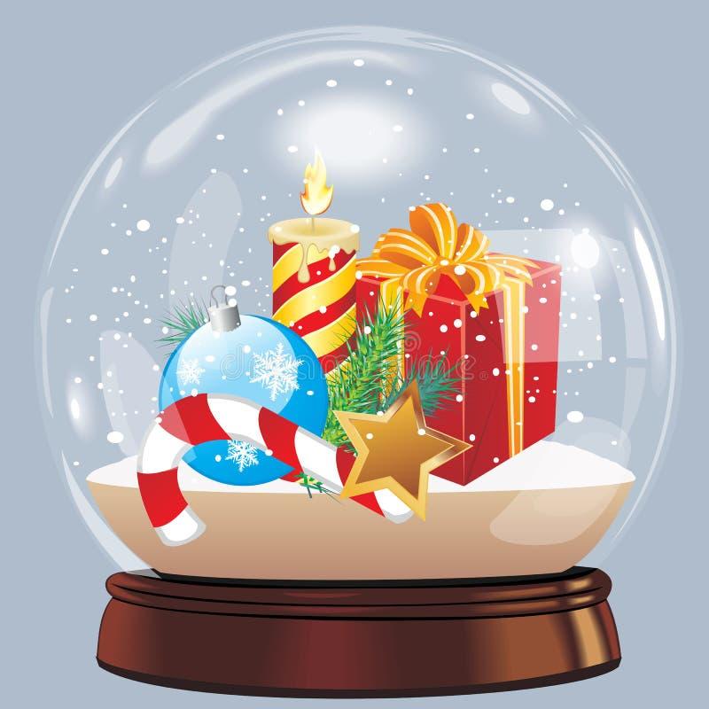 Vektorillustrationen av chrismas för det nya året för snöjordklotbollen realistiska anmärker isolerat på vit med skugga stock illustrationer