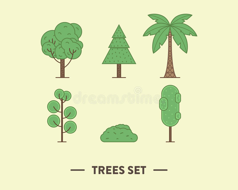 Vektorillustrationen av de gröna träden ställde in med a arkivbilder