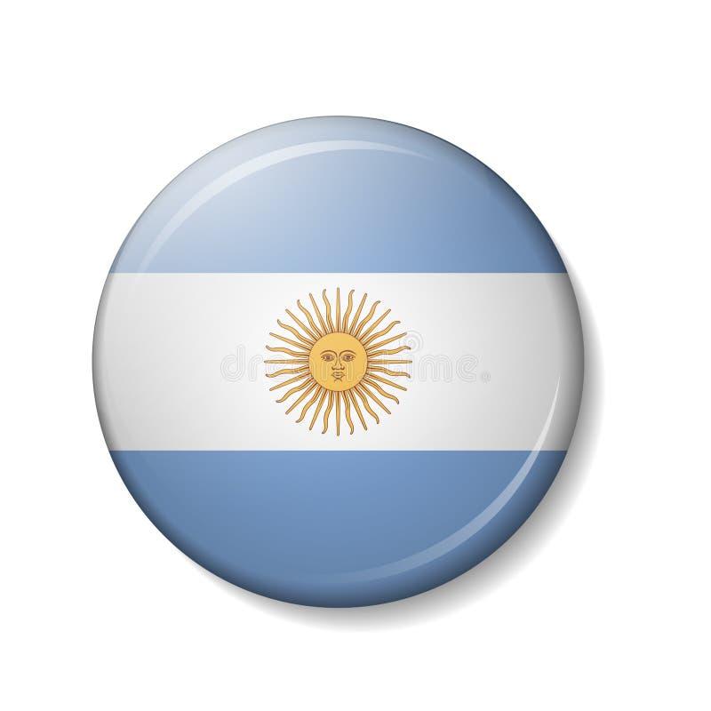 Vektorillustrationen av den ARGENTINA flaggan knäppas, runda symboler för vektorn 3d royaltyfri illustrationer