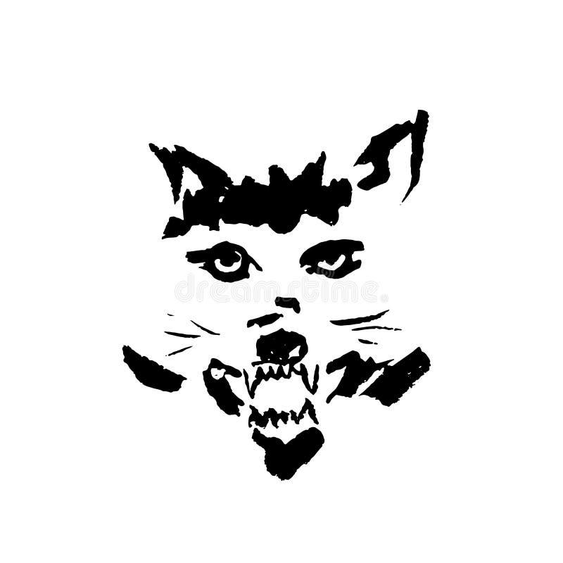 Vektorillustrationen av den ilskna vargen med grinar Enkel grungevargstående vektor illustrationer