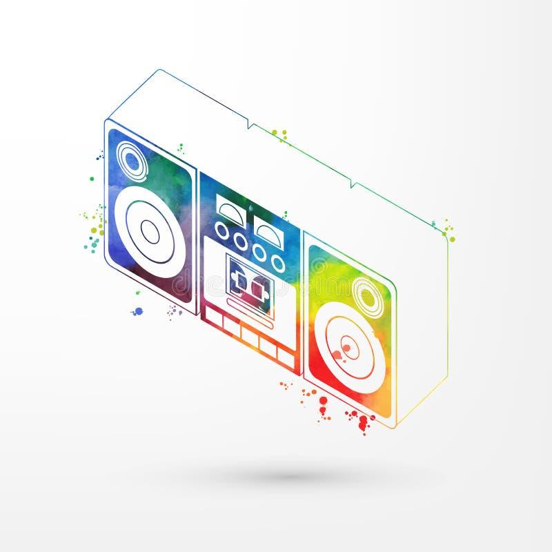 Vektorillustrationen av den isometriska vattenfärgbandspelaren, regnbåge målar Gammal ask för modetappningbang, retro kassett royaltyfri illustrationer