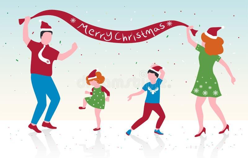 Vektorillustrationen av den lyckliga familjdansen, föräldrar och deras barn firar jul, plan design royaltyfri illustrationer