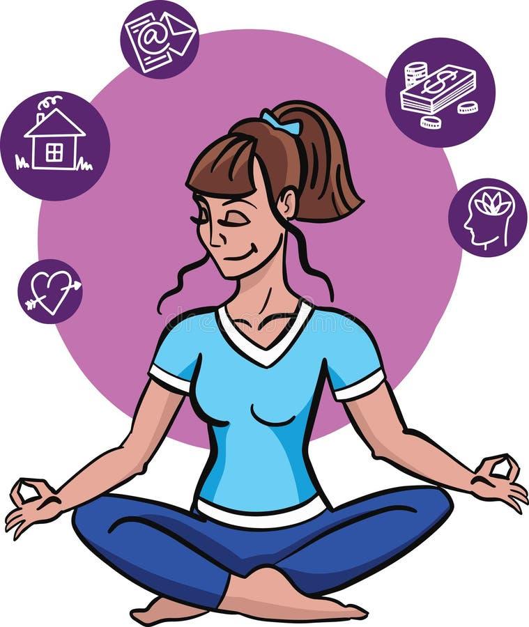 Vektorillustrationen av den lyckliga kvinnan som sitter i lotusblomma, poserar Utdragen plan linje konststil som för hand mediter stock illustrationer
