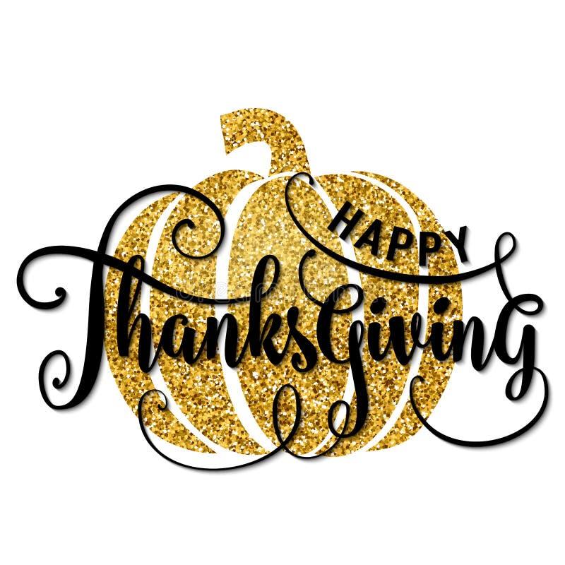 Vektorillustrationen av den lyckliga tacksägelsedagen, ger tack guld- design vektor illustrationer
