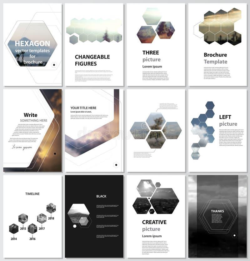 Vektorillustrationen av den redigerbara orienteringen av räkningar för formatet A4 planlägger mallar för broschyren, tidskriften, stock illustrationer
