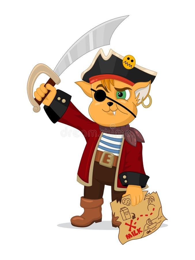 Vektorillustrationen av den roliga tecknad filmkatten piratkopierar med en skattöversikt och en sabel Design för trycket, emblem, stock illustrationer