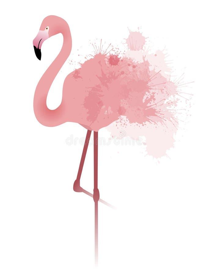 Vektorillustrationen av den rosa flamingo med vattenfärgen plaskar vektor illustrationer