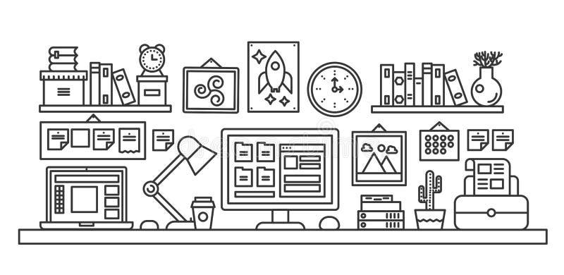 Vektorillustrationen av den svarta linjen singel färgade kontorstabellen med datoren Översiktsstil royaltyfri illustrationer