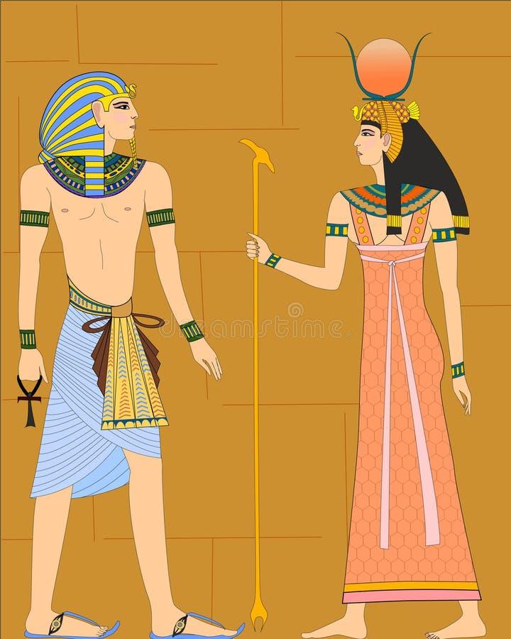 Vektorillustrationen av egyptier på väggen arkivfoto