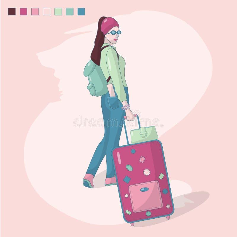 Vektorillustrationen av en flicka med resväskan, en ryggsäck och en biljett i bakfickan av hans flåsanden, går på en tur stock illustrationer