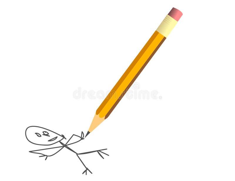 Vektorillustrationen av en guling ritar fotografering för bildbyråer