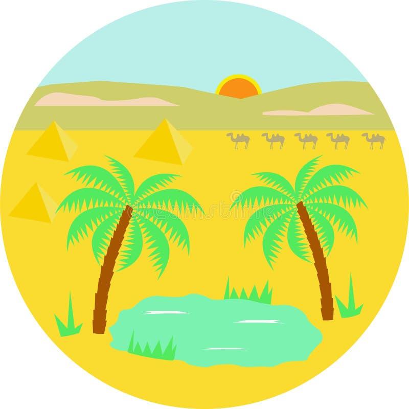 Vektorillustrationen av en oas med två gömma i handflatan, oasen och husvagnen av kamel i öknen royaltyfri illustrationer