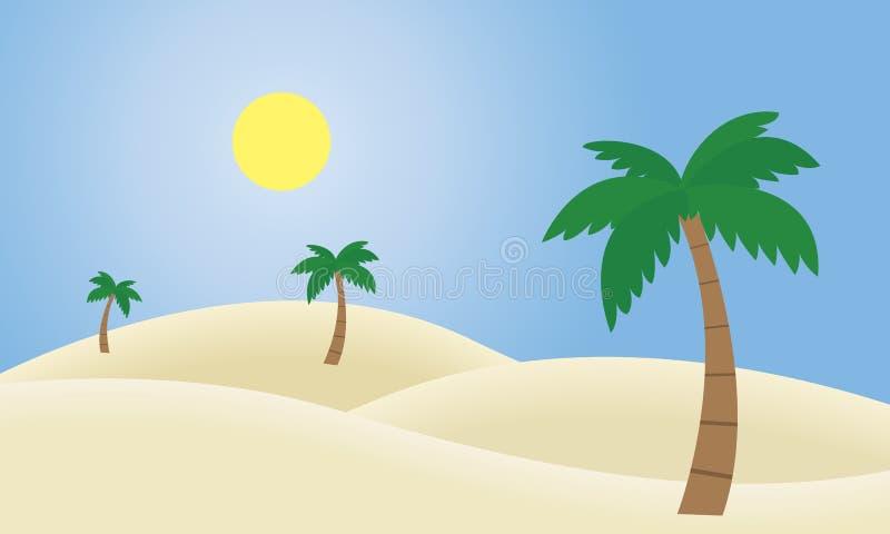 Vektorillustrationen av en sandig öken med dyn och gömma i handflatan royaltyfri illustrationer