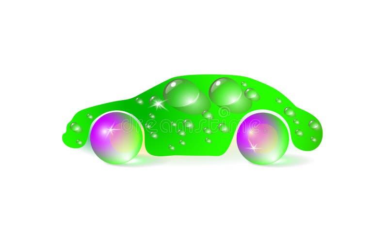 Vektorillustrationen av ett grönt begrepp av ecobilen, washdesign isolerade på vit bakgrund många vattendroppar och digitalt hant stock illustrationer