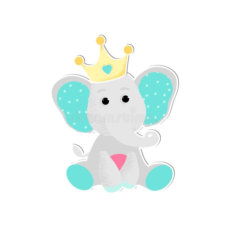 Vektorillustrationen av ett gulligt behandla som ett barn elefanten royaltyfri illustrationer
