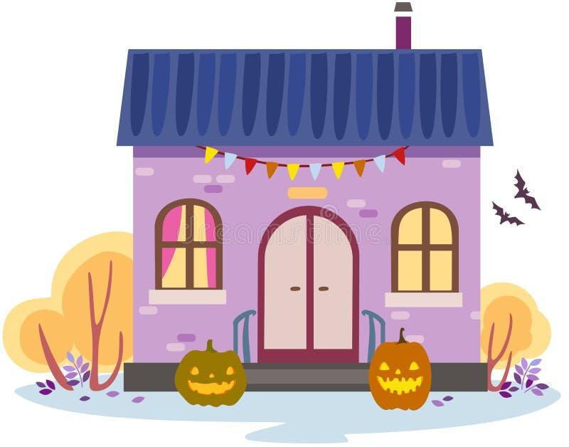 Vektorillustrationen av ett hösthus dekorerade för halloween vektor illustrationer
