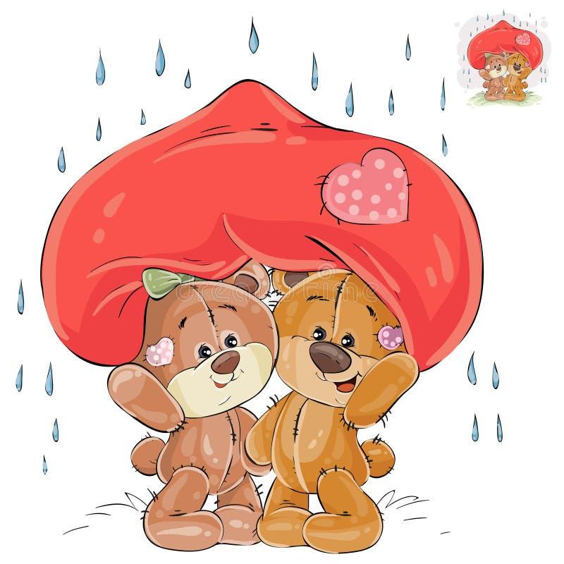 Vektorillustrationen av ett par av förälskade bruna nallebjörnar dolde från regnet under ett stort rött hör stock illustrationer