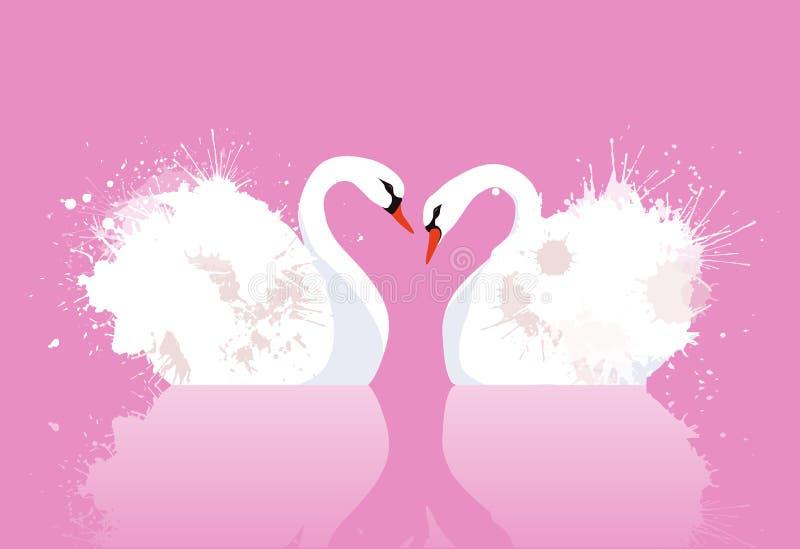 Vektorillustrationen av ett par av svanar med vattenfärgen plaskar stock illustrationer