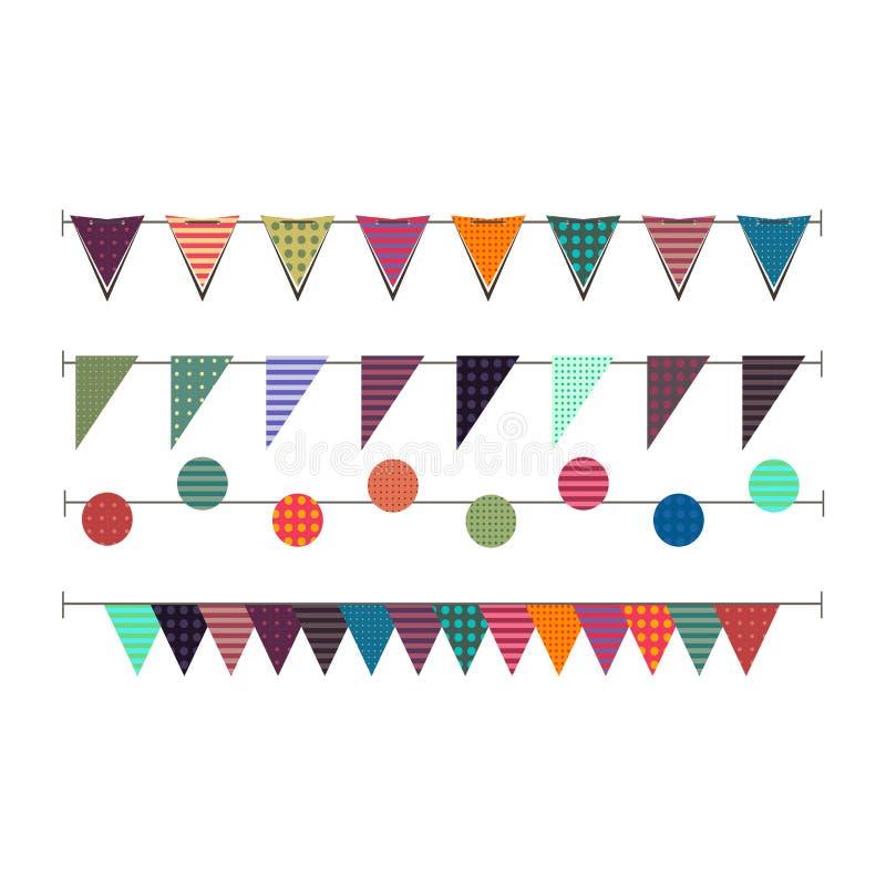 Vektorillustrationen av färgrika girlander på vit isolerade bakgrund vektor illustrationer