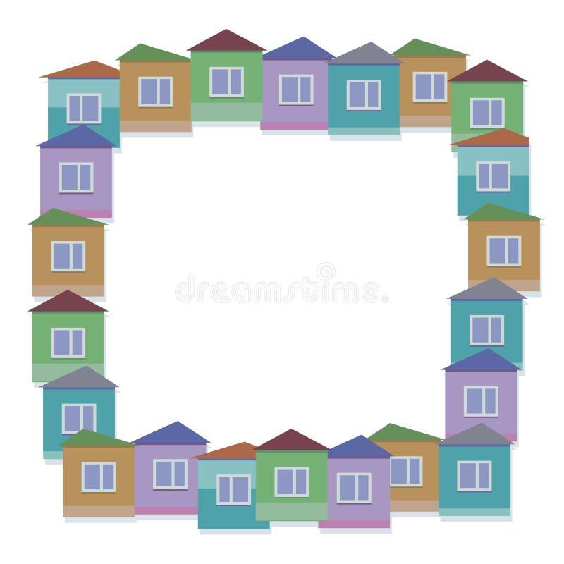Vektorillustrationen av färgrika små hus med fönster och takfyrkanten gränsar stock illustrationer