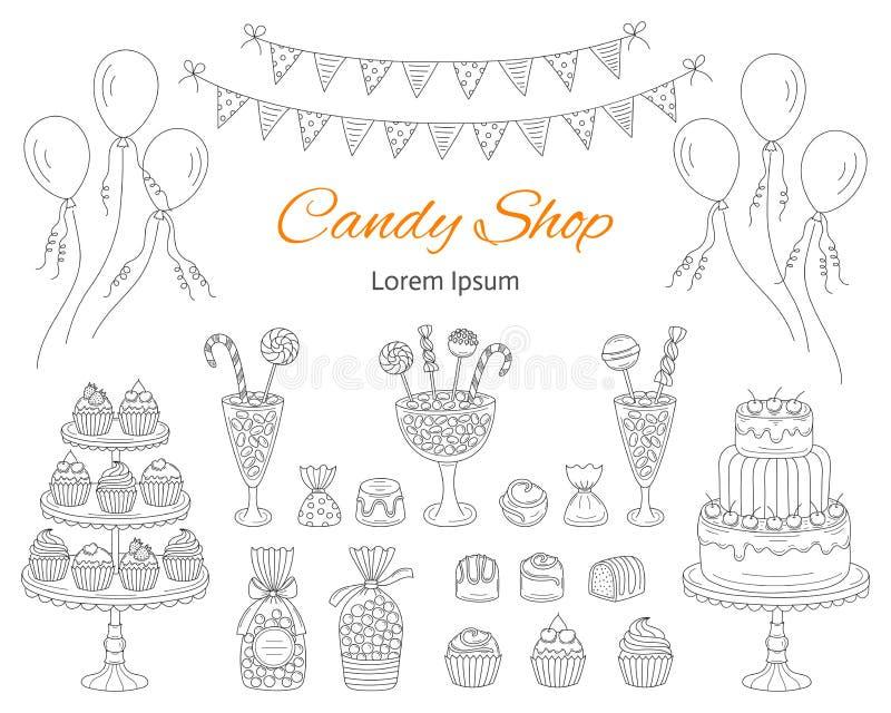 Vektorillustrationen av godisen shoppar, räcker utdragen klotterstil stock illustrationer