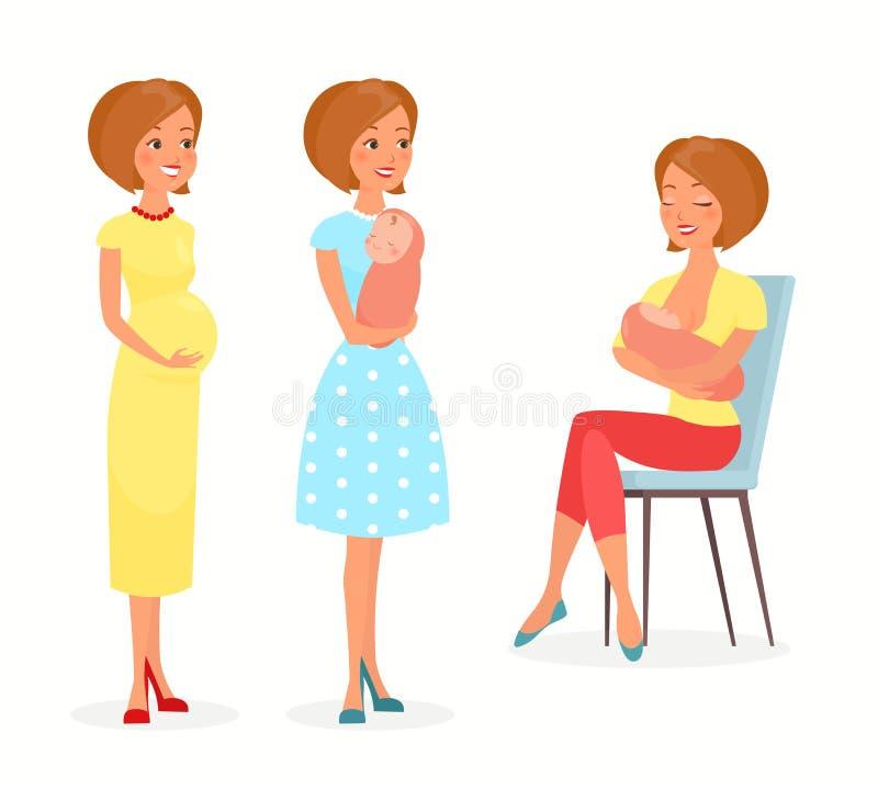 Vektorillustrationen av gravida kvinnan, kvinna med behandla som ett barn och att amma Modern med behandla som ett barn, matninga vektor illustrationer