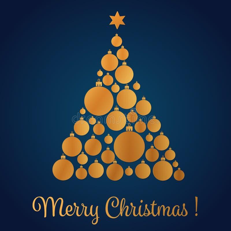 Vektorillustrationen av gul guld färgade julgranen som gjordes med dekorativa bollar klaus santa för frost för påsekortjul sky vektor illustrationer