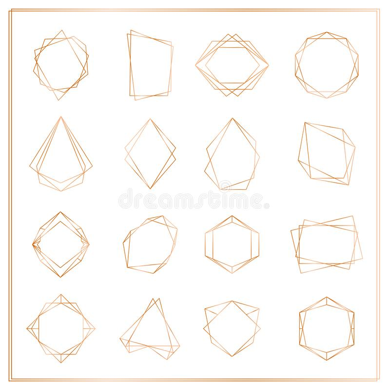 Vektorillustrationen av guld- segmentramar ställde in isolerat på vit bakgrund Tunn linje ramar för geometrisk polyhedron stock illustrationer