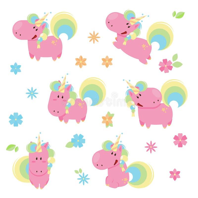 Vektorillustrationen av gulliga rosa enhörningar i olikt poserar stock illustrationer