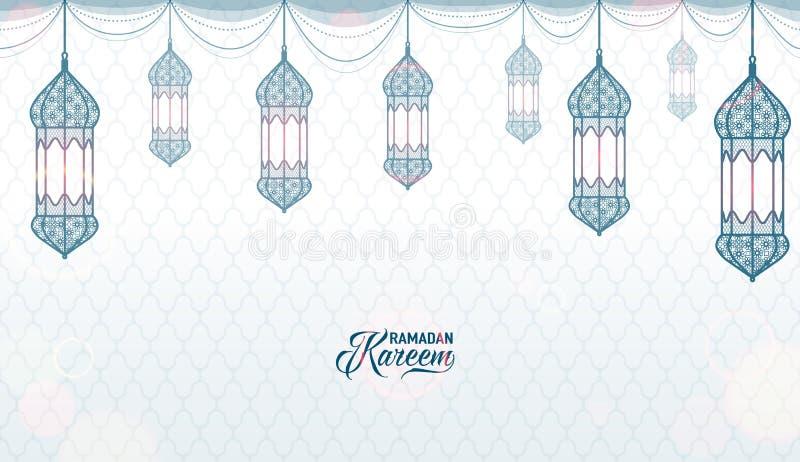 Vektorillustrationen av horisontalramadan kareemblått och vit färgar hälsning stock illustrationer