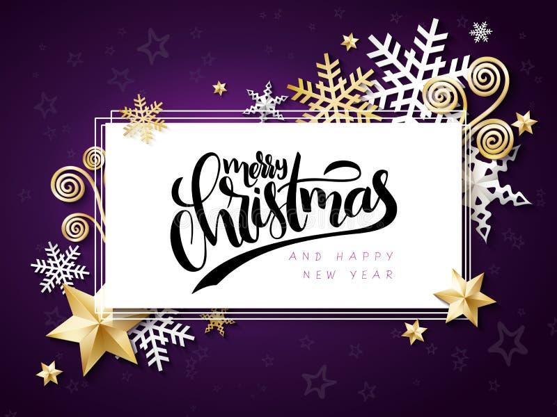 Vektorillustrationen av julhälsningkortet med handbokstäveretiketten - glad jul - med stjärnor, mousserar vektor illustrationer