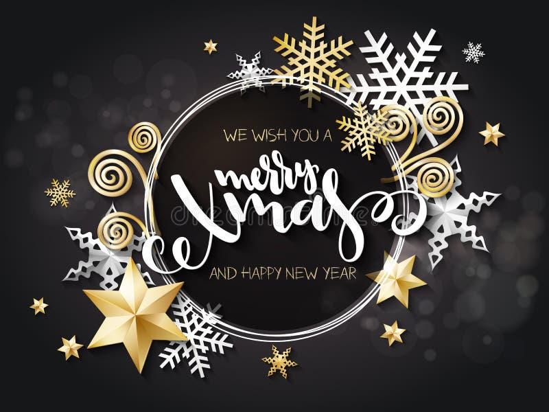 Vektorillustrationen av julhälsningkortet med handbokstäveretiketten - glad xmas - med stjärnor, mousserar, snöflingor vektor illustrationer