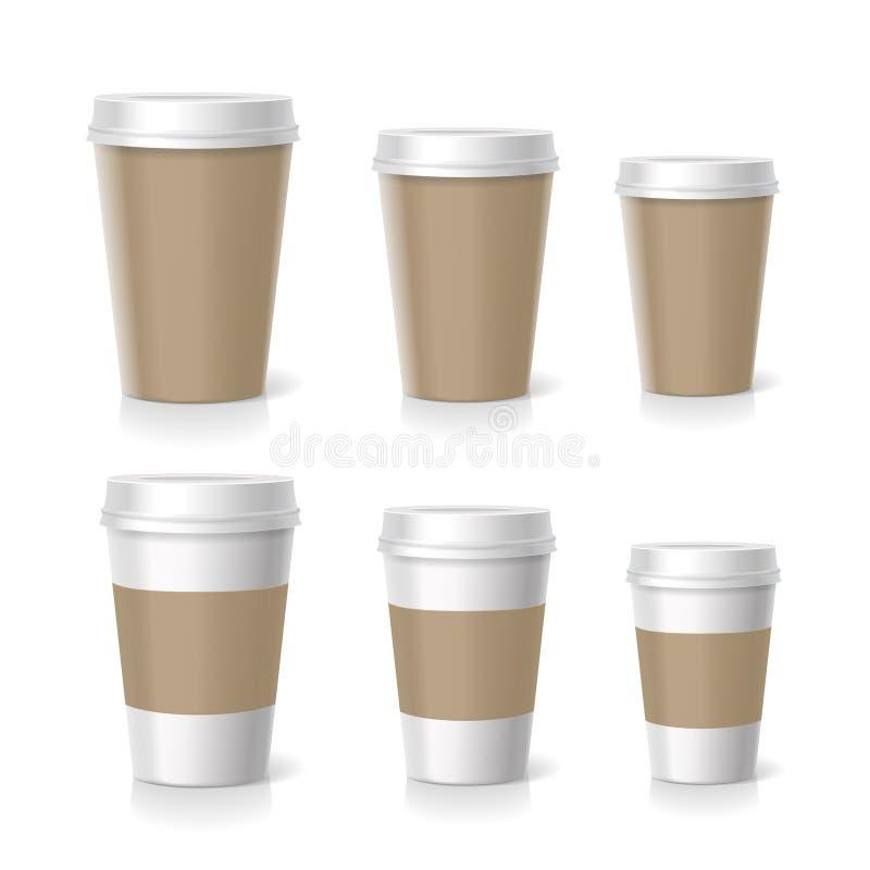 Vektorillustrationen av kaffekoppar ställde in, isolerat stock illustrationer