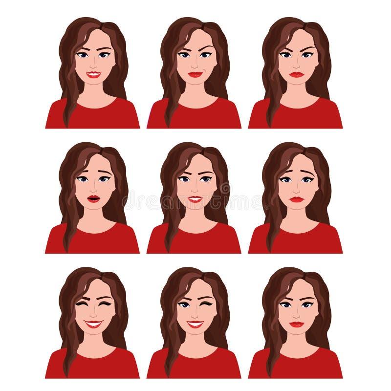 Vektorillustrationen av kvinnan med olika ansiktsuttryck ställde in Sinnesrörelser ställde in på vit bakgrund i plan stil stock illustrationer