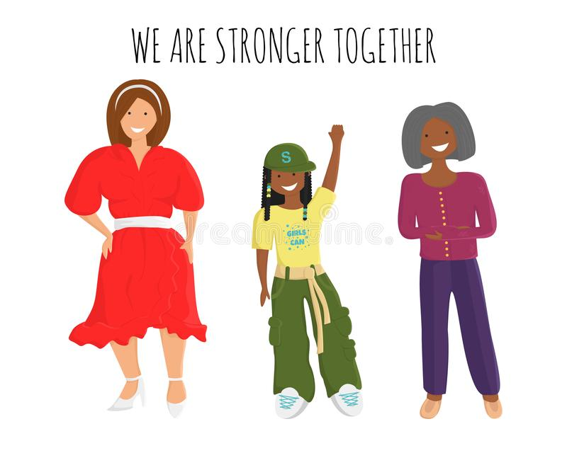 Vektorillustrationen av kvinnor är starkare tillsammans vektor illustrationer