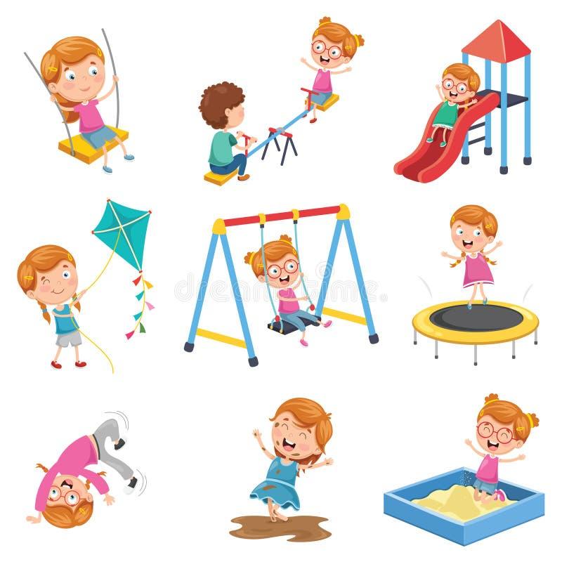Vektorillustrationen av lilla flickan som spelar på, parkerar royaltyfri illustrationer