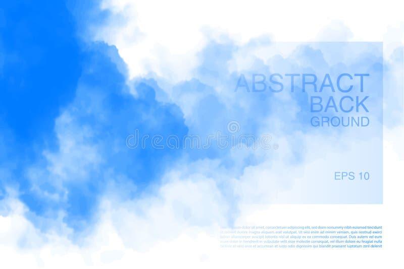 Vektorillustrationen av ljus fördunklar i blå himmel Abstrakt bakgrund med realistiskt molnmotiv royaltyfri illustrationer