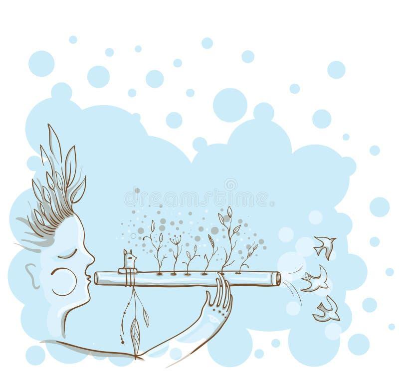 Vektorillustrationen av mannen med indianer blåser flöjt royaltyfri illustrationer