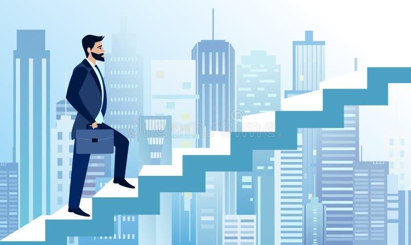 Vektorillustrationen av mannen stiger i affärsmoment för att lyckas på stor modern stadsbakgrund En affärsman heading stock illustrationer
