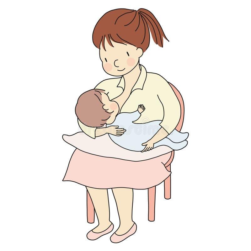 Vektorillustrationen av moderinnehavet behandla som ett barn, i armar och att amma Familjbegrepp - mamma & unge, hed, digivning s vektor illustrationer