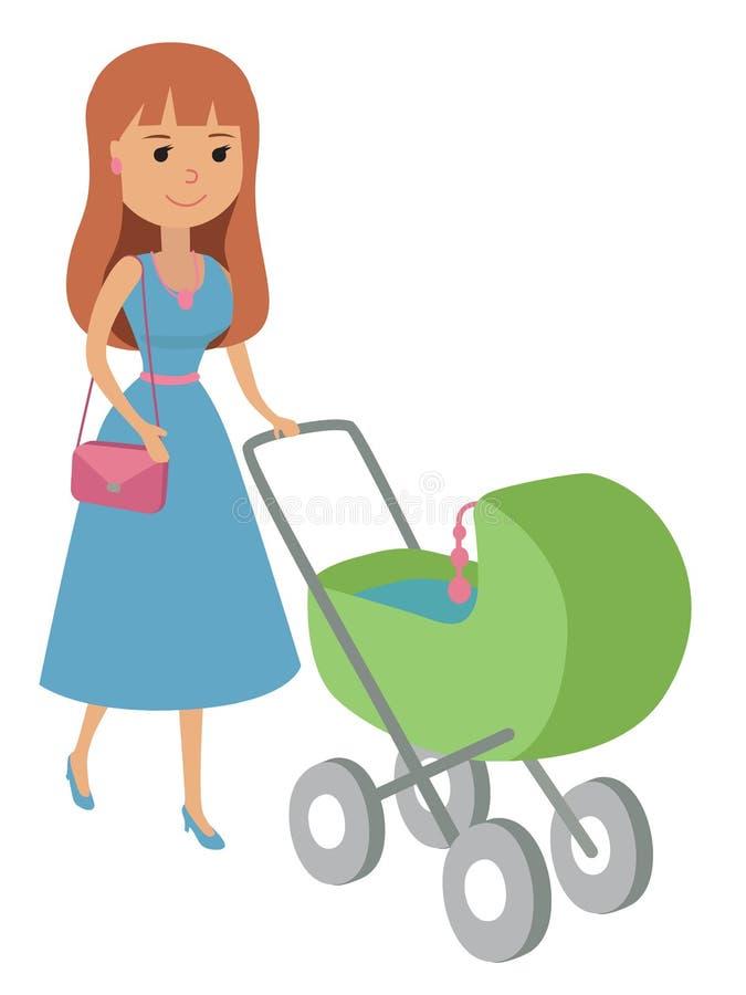 Vektorillustrationen av modern som går med nyfött, behandla som ett barn behandla som ett barn på sittvagnen på vit bakgrund Ung  royaltyfri illustrationer