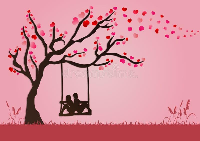 Vektorillustrationen av par är svängande under förälskelseträd med pappers- konststil för valentinfestival stock illustrationer
