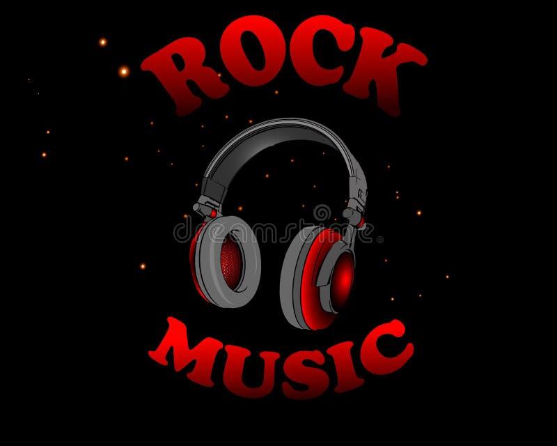 Vektorillustrationen av röd hörlurar med ordet vaggar musik på en svart bakgrund royaltyfria foton