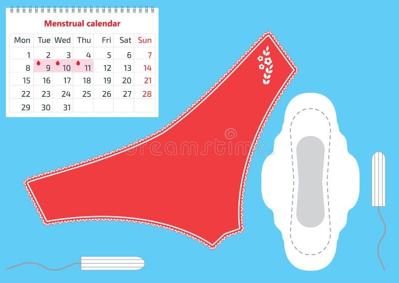 Vektorillustrationen av rött snör åt flåsanden, det menstruations- blocket, tampongen och kalendern för blodperiod Foto för kvinn vektor illustrationer