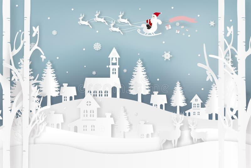 Vektorillustrationen av Santa Claus är kommande till staden och hjortar i skog med insnöat den vintersäsongen och julen Designväl stock illustrationer