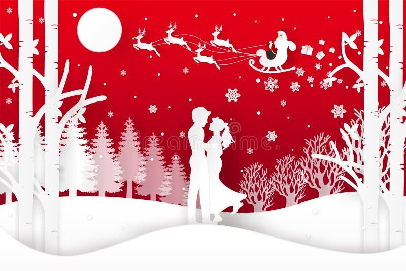 Vektorillustrationen av Santa Claus är kommande till staden och hjortar i skog med insnöat den vintersäsongen och julen Designväl arkivfoto