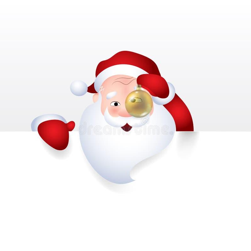 Vektorillustrationen av Santa Claus med jul klumpa ihop sig sinnesrörelse för tecknad filmteckenet som är gladlynt för ett tomt t royaltyfri illustrationer