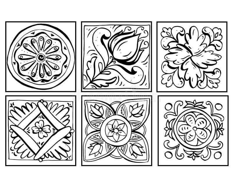 Vektorillustrationen av Sicilian krukmakeriklotter ställde in svartvitt Prydnader som isoleras på vit bakgrund dekor royaltyfri illustrationer